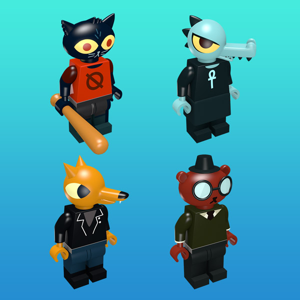 Night in the Woods cast as minifigures